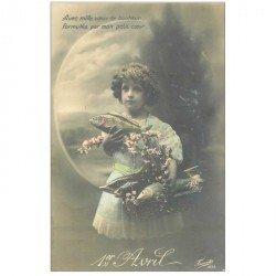 carte postale ancienne FETE 1er AVRIL. Fillette et Poissons