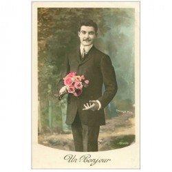 carte postale ancienne Homme et Fleurs pour un Bonjour