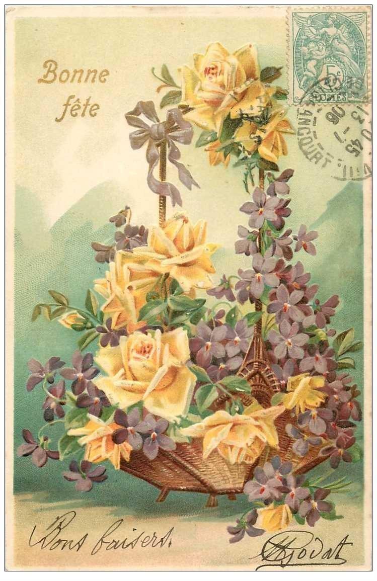 NOEL. Bonne Fête. Fleurs 1906 gaufrée