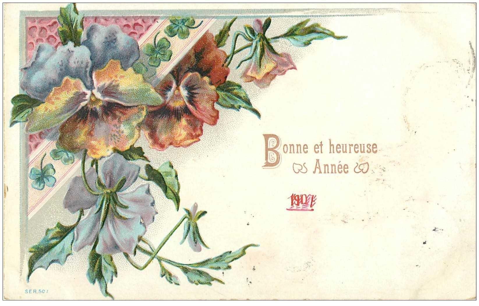 Nouvel An Bonne Annee Carte Gaufree Fleurs 1907