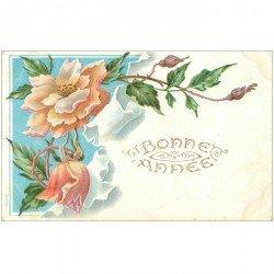 carte postale ancienne NOUVEL AN. Bonne Année carte gaufrée Fleurs 1907