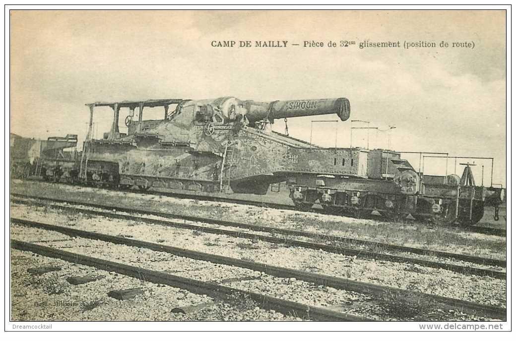 carte postale ancienne CANON SUR RAIL. Camp de Mailly Pièce de 32° glissement position de route 1922