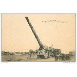 carte postale ancienne CANON SUR RAIL. Camp de Mailly Pièce de 340mm beceau en batterie angle 40° 1923
