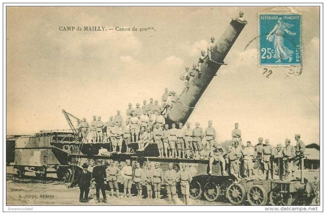 carte postale ancienne CANON SUR RAIL. Camp de Mailly. Canon de 400 mm 1922