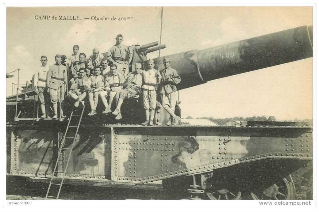 carte postale ancienne CANON SUR RAIL. Camp de Mailly. Obusier de 400 mm 1922