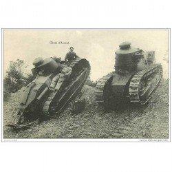 carte postale ancienne CHAR D'ASSAUT. Tank avec Militaires dessus 1923