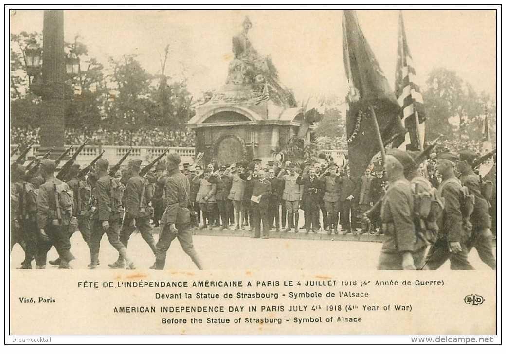 carte postale ancienne FETE INDEPENDANCE AMERICAINE A PARIS 14 JUILLET 1918. Statue de Strasbourg. Armée et Militaires