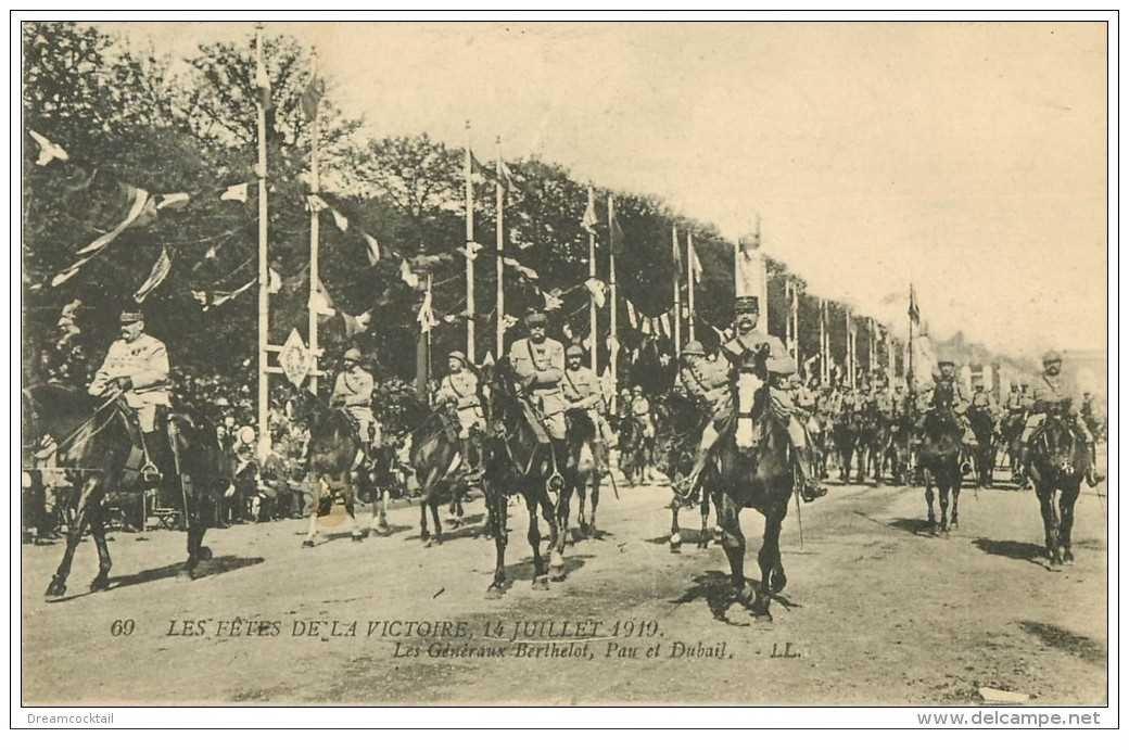 carte postale ancienne FETES VICTOIRE 1919. Généraux Berthelot, Pau et Dubail. Armée et Militaires