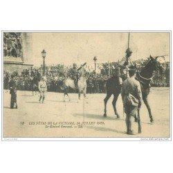 carte postale ancienne FETES VICTOIRE 1919. Le Général Gouraud. Armée et Militaires
