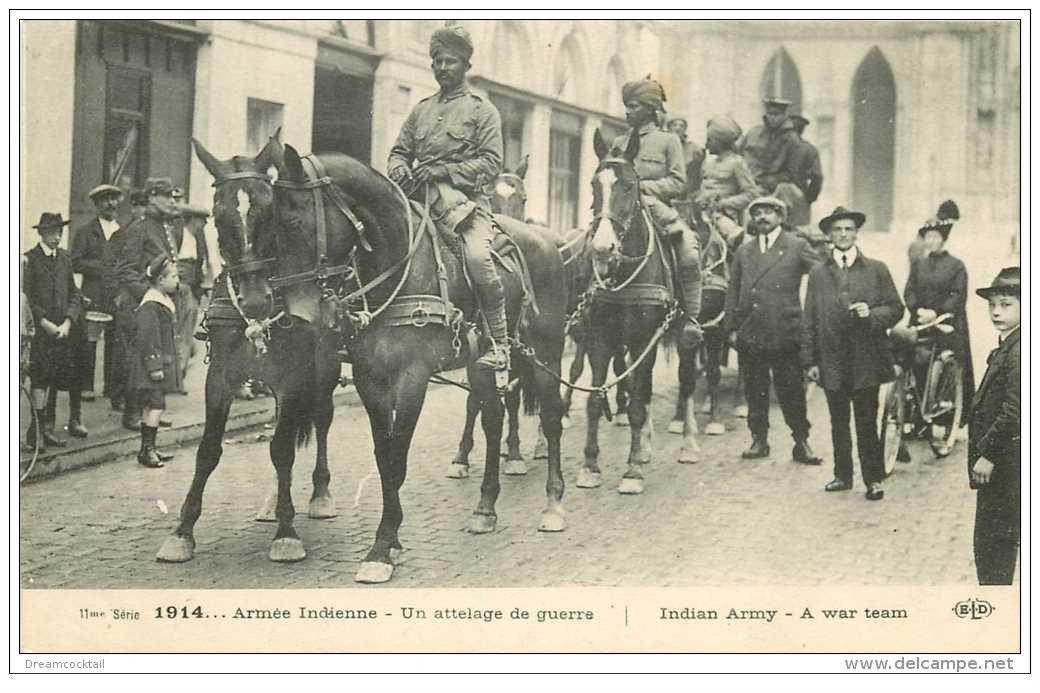 carte postale ancienne GUERRE 1914-18. Armée Indienne en Attelage de Guerre