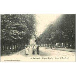 carte postale ancienne 02 SAINT-QUENTIN. Garde Républicain Avenue de Remicourt Champs-Elysées