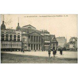 carte postale ancienne 02 SAINT-QUENTIN. Grand Place et Théâtre 1925. Maison Dony