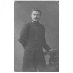 carte postale ancienne Photo carte postale MILITAIRE. Soldat Russe signé Davidov pour Ferrain 1910