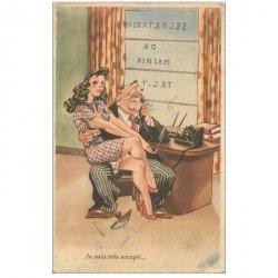 carte postale ancienne HUMOUR. Carte postale 1952 le Secrétariat de la Mairie et le Maire