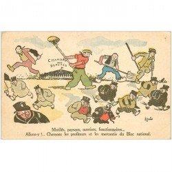 carte postale ancienne FANTAISIE POLITIQUE. Chambre des Députés par Guérin. Mutilés, Paysans, Ouvriers
