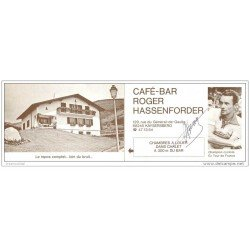 carte postale ancienne Sports Cyclisme. Carton Publicitaire Café à Kayserberg dédicace ROGER HASSENFORDER.
