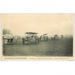 carte postale ancienne AVIATION. Aérodrome de Port-Aviation 91. Trois appareils Goupy et un Farman.