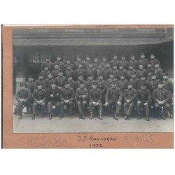carte postale ancienne SAPEURS POMPIERS. Paris J.J Rousseau 1932 + 2 petites photos Fontainebleau 1928