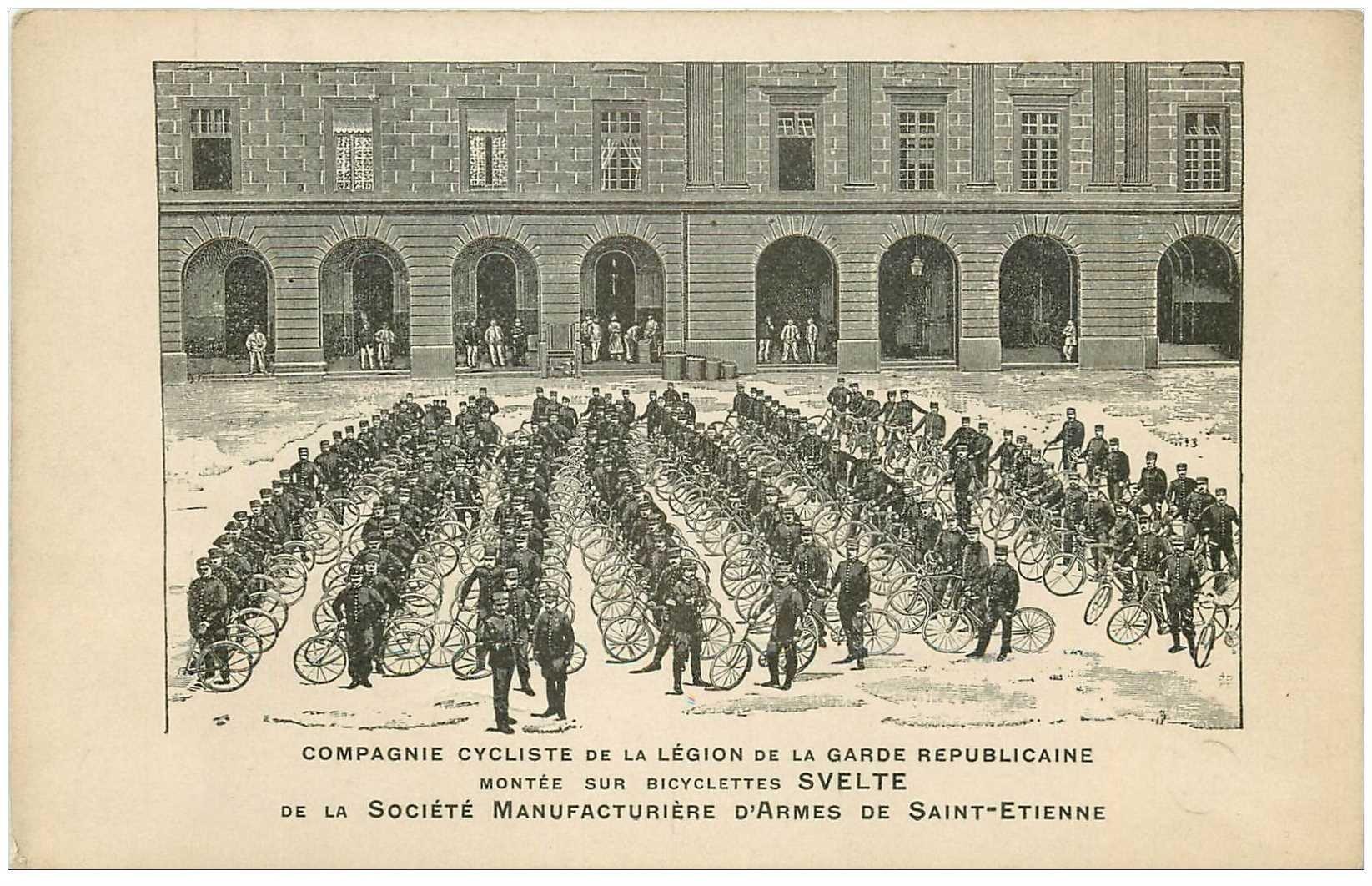 carte postale ancienne METIERS. Compagnie Cycliste Légion Garde Républicaine sur bicyclettes Svelte