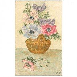 carte postale ancienne et Superbe. carte peinte à la main représentant un vase et Fleurs par Moussoy