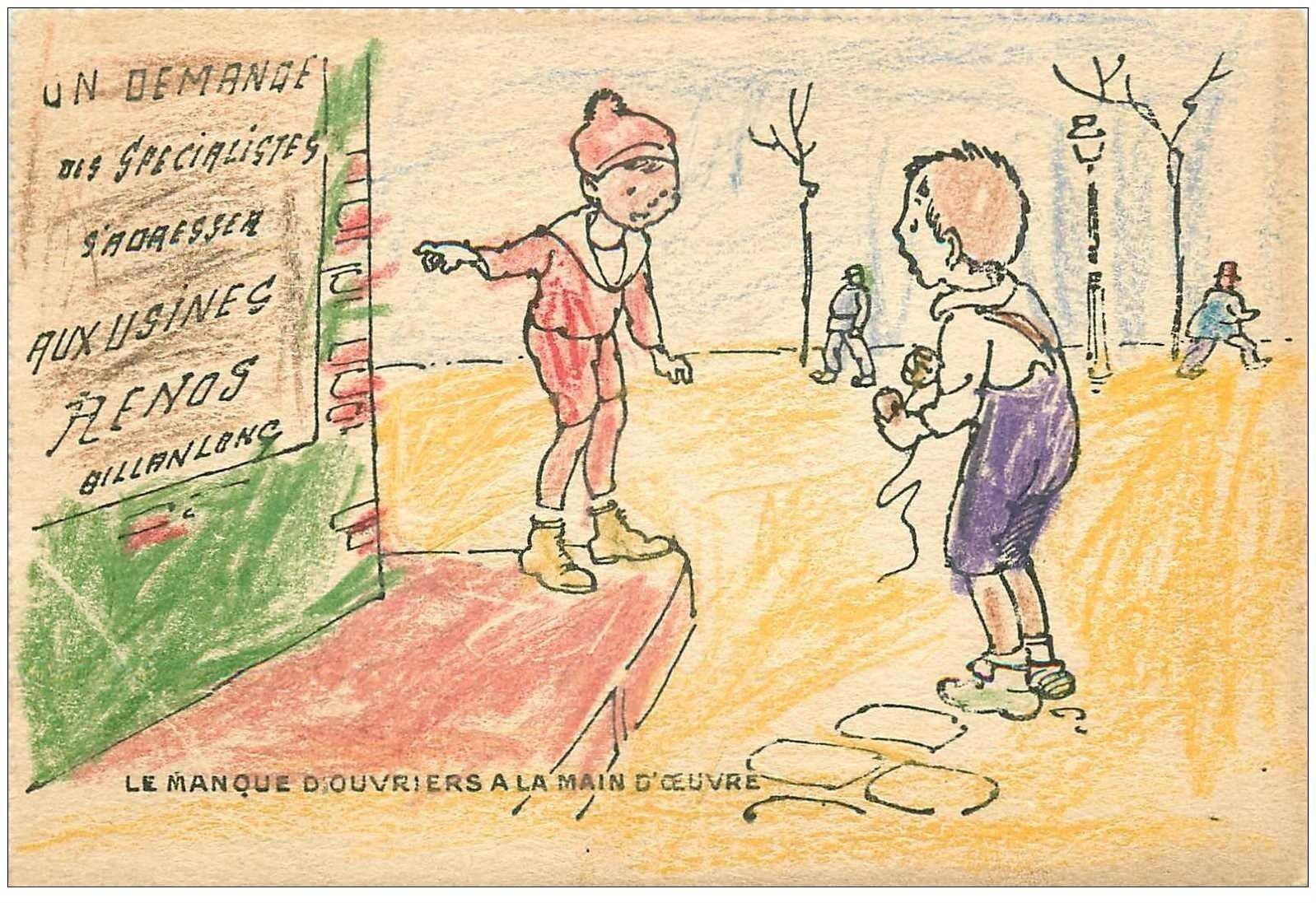 carte postale ancienne Carte coloriée à la main. Le manque d'Ouvriers à la main d'œuvre