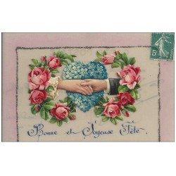 carte postale ancienne Carte Fantaisie à système. Fleurs Roses mobiles et Joyeuse Fête en rajout