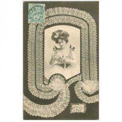 carte postale ancienne BERGERET illustrateur les Dentelles. 43 au fuseau 1903 Du Puy