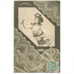 carte postale ancienne BERGERET illustrateur les Dentelles. 60 de Chantilly 1903