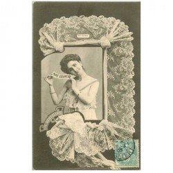 carte postale ancienne BERGERET illustrateur les Dentelles. 61 Point d'Alençon 1903 ( au choix timbrée au verso ou recto )...