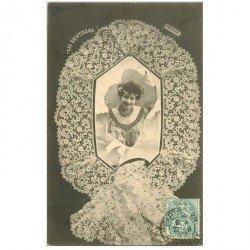 carte postale ancienne BERGERET illustrateur les Dentelles. Guipure d'Irlande 1903