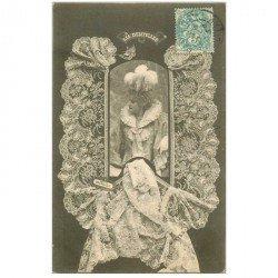 carte postale ancienne BERGERET illustrateur les Dentelles. Point de Bruxelles 1903