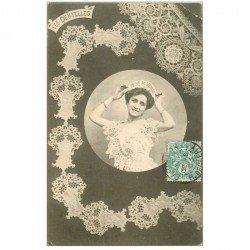 carte postale ancienne BERGERET illustrateur les Dentelles. Point de Venise 1903