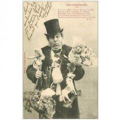 carte postale ancienne BERGERET. Les Etrennes 1903 timbre manquant