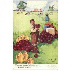 carte postale ancienne Carte Postale Fantaisie Illustrateur DUPUIS pauvre petite Voisine va !... Hollande et Moulins