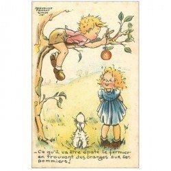 carte postale ancienne Carte Postale Fantaisie Illustrateur FAIZANT Jacqueline Simon les Oranges sur le Pommiers!... 1956