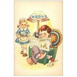 carte postale ancienne Carte Postale Fantaisie Illustrateur GALBIATI FALBIATI il Giornalino. La lecture d'une bande dessinée