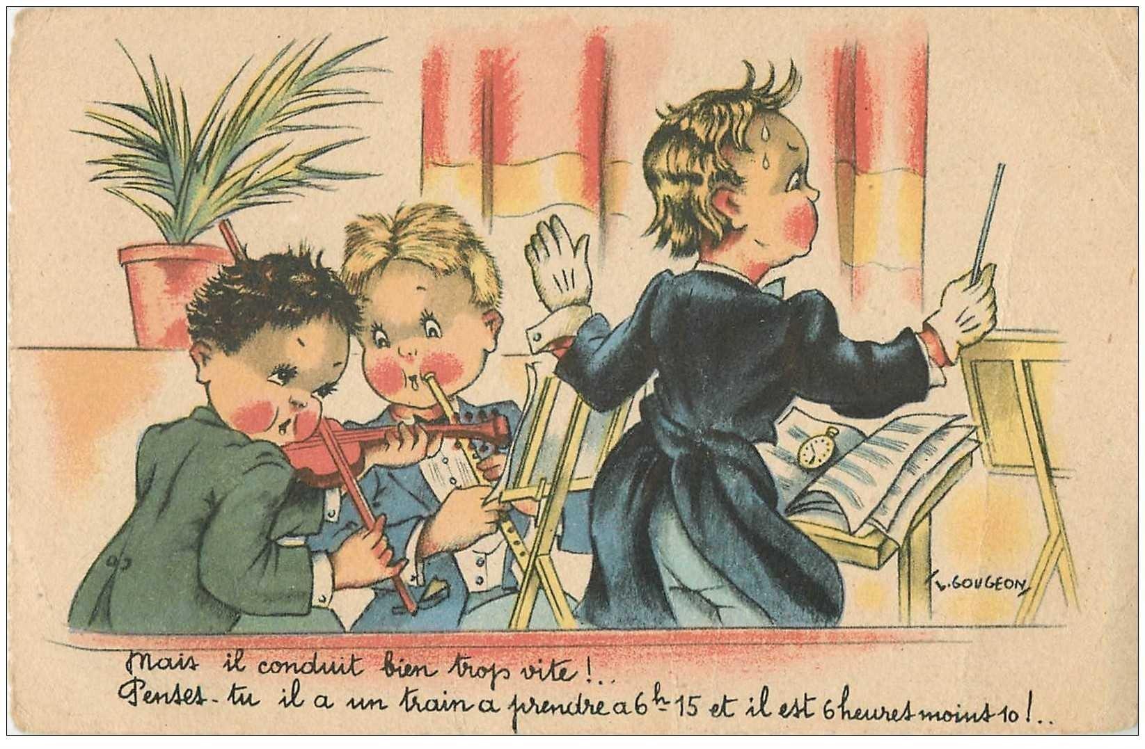 carte postale ancienne Carte Postale Fantaisie Illustrateur GOUGEON le Chef d'Orchestre et Musiciens 1944