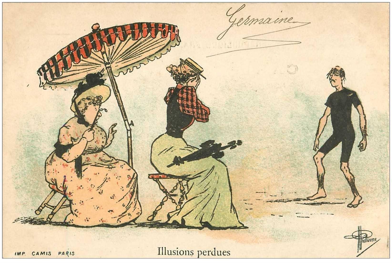 carte postale ancienne Carte Postale Fantaisie Illustrateur GUILLAUME Timbre 1 centime Illusions perdues...
