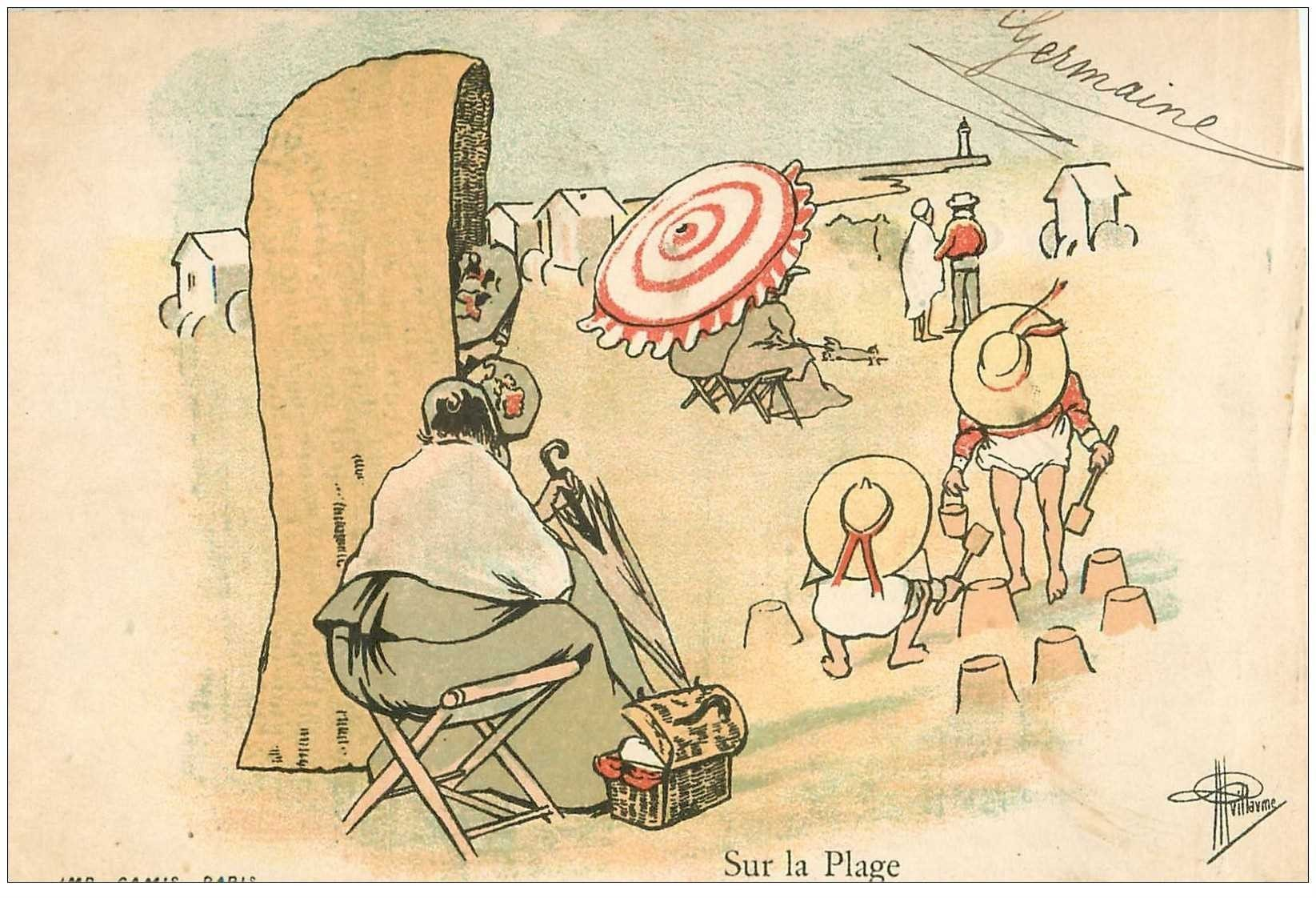 carte postale ancienne Carte Postale Fantaisie Illustrateur GUILLAUME Timbre 1 centime sur la Plage