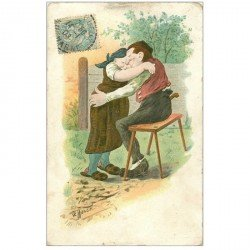 carte postale ancienne Carte Postale Fantaisie Illustrateur HUHER un moment de Tendresse 1907