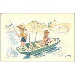 carte postale ancienne Carte Postale Fantaisie Illustrateur JANSER jeunes Pêcheurs