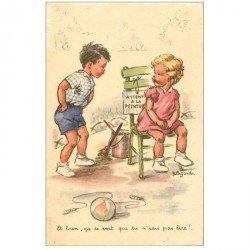 carte postale ancienne Carte Postale Fantaisie Illustrateur LAGARDE attention à la Peinture !... 1958