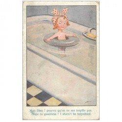 carte postale ancienne Carte Postale Fantaisie Illustrateur MAC MAS Fillette avec bouée dans sa baignoire... 1917