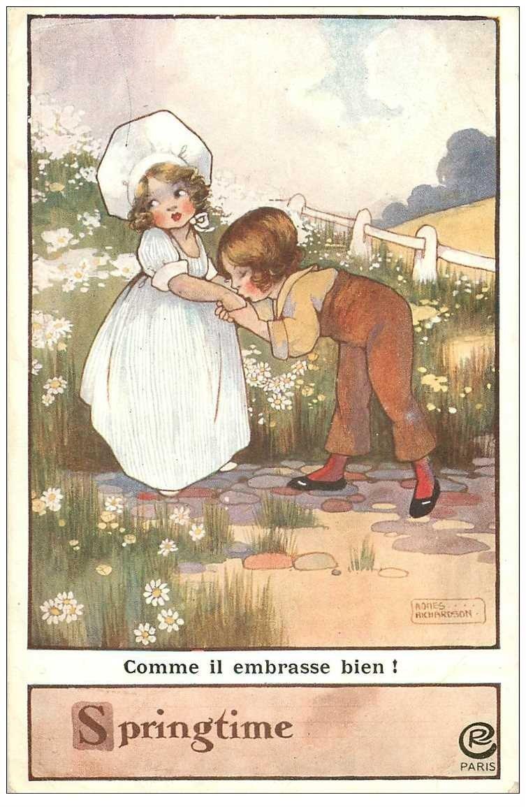carte postale ancienne Carte Postale Fantaisie Illustrateur RICHARDSON Springtime 1917