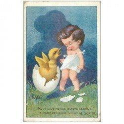 carte postale ancienne Carte Postale Fantaisie Illustrateur RIGHT le Bébé et le Poussin sortant de l'Oeuf 1925