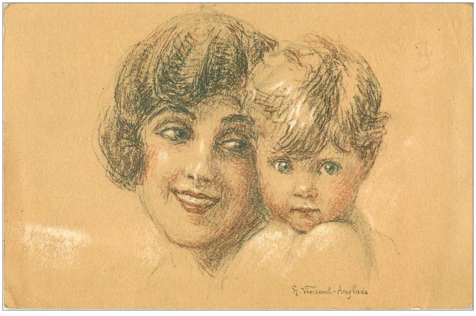 carte postale ancienne Carte Postale Fantaisie Illustrateur Vincent ANGLADE une Mère et son Enfant comme un fusain...