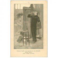 carte postale ancienne Gravure de Goussé artiste Peintre pour Album Mariani. Le portrait difficile...