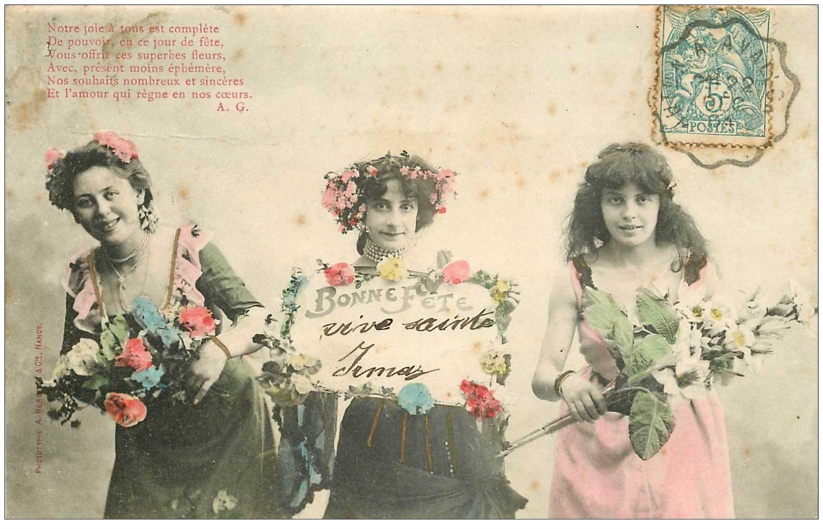 carte postale ancienne Illustrateur BERGERET. Bonne Fête Sainte Irma 1904