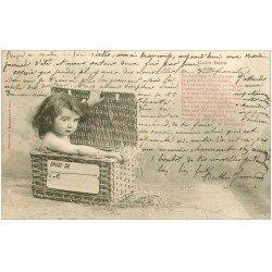 carte postale ancienne Illustrateur BERGERET. Colis Bébé 1904