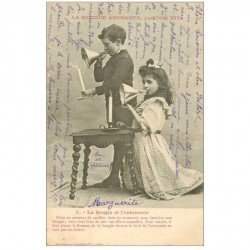 carte postale ancienne Illustrateur BERGERET. La Bougie et l'entonnoir. Marguerite 1902